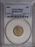 Bust Dimes: , 1830 10C Medium 10C MS64 PCGS. JR-6, R.2. Low 3 in date, level,nearly evenly spaced denomination, followed by a tiny perio...