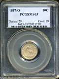 Seated Dimes: , 1857-O 10C MS63 PCGS. Speckles of light tan patina dot the obverse of this O-Mint dime. The lustrous surfaces appear to be ...