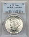Peace Dollars, 1923 $1 Extra Hair, VAM-1B, Top 50, MS63 PCGS. PCGS Population: (52/47). MS63. ...