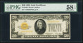 Small Size:Gold Certificates, Fr. 2402 $20 1928 Gold Certificate. PMG Choice About Unc 58 EPQ.. ...