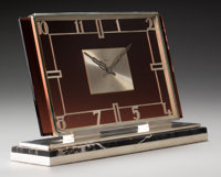 A Cartier Art Deco Silver and Amethyst Glass Mantle Clock on Silver and Belgian Marble Base, Paris, France, circa 192