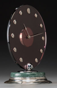 A Cartier Art Deco Silver, Amethyst Glass, and Marble Clock, Paris, France, circa 1935 Marks to movement case: