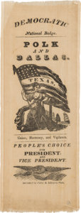 Political:Ribbons & Badges, James K. Polk: Pro-Texas Large Silk Ribbon....