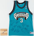 Basketball Collectibles:Uniforms, 1997-98 Vancouver Grizzlies Team Signed Jersey and ShareefAbdur-Rahim Signed Court Piece.. ...