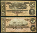Confederate Notes:Group Lots, T67 $20 1864 PF-16; Cr. 516;. T68 $10 1864 PF-10; Cr. 543.. ...(Total: 2 notes)