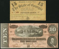 Confederate Notes:1864 Issues, T68 $10 1864 PF-38 Cr. 550;. Milledgeville, GA- State of Georgia 15¢ Jan. 1, 1863 Cr. 17. ... (Total: 2 notes)