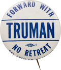 Political:Pinback Buttons (1896-present), Harry S. Truman: Rare Slogan Button From Wisconsin....