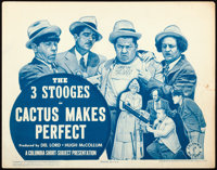 "The Three Stooges in Cactus Makes Perfect (Columbia, 1942). Title Lobby Card (11"" X 14"")"
