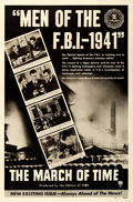 "Movie Posters:Documentary, The March of Time (RKO, 1941). One Sheet (27"" X 41"") ""Men of theF.B.I. - 1941."". ..."