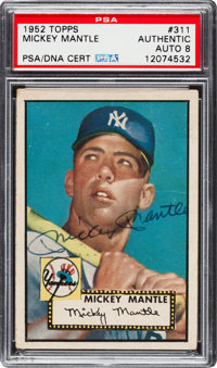 1952 Topps Mickey Mantle #311, PSA/DNA Autograph Grade NM-MT 8