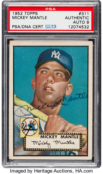 1952 Topps Mickey Mantle 311 Psadna Autograph Grade Nm Mt 8