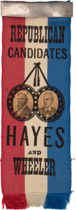 Political:Ribbons & Badges, Hayes & Wheeler: Rare Jugate Ribbon with Applied Paper Portraits....