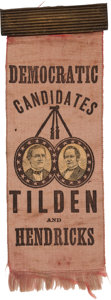 Political:Ribbons & Badges, Tilden & Hendricks: Rare Jugate Ribbon with Applied Paper Portraits....