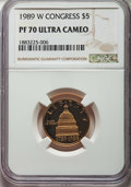 Modern Issues, 1989-W $5 Congress Gold Five Dollar PR70 Ultra Cameo NGC. NGC Census: (2356). PCGS Population: (533)....