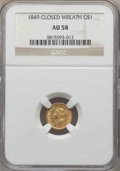 Gold Dollars, 1849 G$1 Closed Wreath AU58 NGC. NGC Census: (74/382). PCGS Population: (43/206). CDN: $375 Whsle. Bid for problem-free NGC...