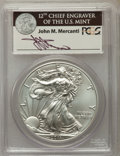 Modern Bullion Coins, 2011-S $1 Silver Eagle, 25th Anniversary, First Strike, Mercanti Signature MS70 PCGS. PCGS Population: (8180). NGC Census: ...