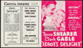 "Movie Posters:Comedy, Idiot's Delight (MGM, 1939). Herald (11.5"" X 6.75""). Comedy.. ..."