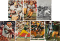 Football Collectibles:Photos, 1960's Green Bay Packers Greats Signed Magazine Photographs Lot of 7....