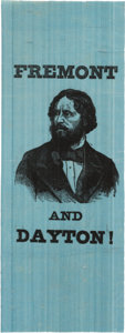 Political:Ribbons & Badges, John C. Frémont: Eye-Catching Portrait Ribbon on Vibrant Blue Silk....