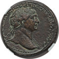 Ancients:Roman Imperial, Ancients: Trajan (AD 98-117). Orichalcum sestertius (22.75 gm). NGCXF 4/5 - 3/5, lt. smoothing....