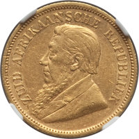 South Africa: Republic gold 1/2 Pond 1895 AU53 NGC