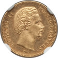 German States:Bavaria, German States: Bavaria. Ludwig II gold 5 Mark 1877-D MS62 NGC,...