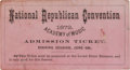 Political:Small Paper (pre-1896), 1872 Republican National Convention Ticket....