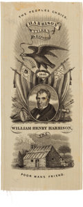 Political:Ribbons & Badges, William Henry Harrison: A Superb 1840 Campaign Ribbon. ...