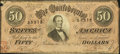 Confederate Notes:1864 Issues, Advertising Note T66 $50 1864.. ...