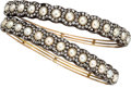 Estate Jewelry:Bracelets, Victorian Diamond, Half-Pearl, Silver-Topped Gold Bracelets . ...(Total: 2 Items)