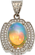 Estate Jewelry:Pendants and Lockets, Opal, Diamond, White Gold Pendant  The pendant...
