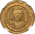 Ancients:Byzantine, Ancients: Maurice Tiberius (AD 582-602). AV solidus (4.48gm).NGC MS ★ 5/5 - 5/5....