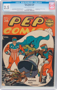 Pep Comics #26 (MLJ, 1942) CGC GD+ 2.5 Cream to off-white pages