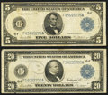 Large Size, Fr. 867A $5 1914 Federal Reserve Note Fine.. Fr. 987A $20 1914 Federal Reserve Note Very Good-Fine.. ... (Total: 2 notes)