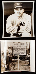 Baseball Collectibles:Photos, New York Yankees Type III Photograph Collection (9) - Includes Five Ruth Photographs. . ...