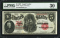 Large Size:Legal Tender Notes, Fr. 85 $5 1907 Legal Tender PMG Very Fine 30....