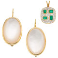 Estate Jewelry:Lots, Diamond, Emerald, Mother of Pearl, Gold Jewelry. ... (Total: 2 Items)