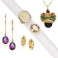 Estate Jewelry:Lots, Multi-Stone, Diamond, Gold, Vermeil Jewelry. ... (Total: 5 Items)