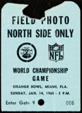 Football Collectibles:Tickets, 1968 Super Bowl II Press Pass - Packers vs. Raiders.. ...