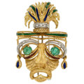 Estate Jewelry:Brooches - Pins, Emerald, Diamond, Enamel, Gold Brooch. ...