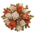 Estate Jewelry:Brooches - Pins, Coral, Diamond, Emerald, Gold Brooch. ...