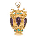 Estate Jewelry:Pendants and Lockets, Amethyst, Turquoise, Gold Charm. ...