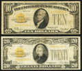 Small Size:Gold Certificates, Fr. 2400 $10 1928 Gold Certificate. VG;. Fr. 2402 $20 1928 Gold Certificate. VG.. ... (Total: 2 notes)