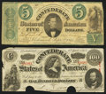 Confederate Notes:Group Lots, T33 $5 1861 PF-7 Cr. 254Ba. T56 $100 1863 PF-1 Cr. 403.. ...(Total: 2 notes)