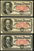 Fractional Currency, Fr. 1381 50¢ Fifth Issue Very Fine or Better. Three Examples.. ... (Total: 3 notes)
