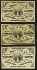 Fr. 1226 3¢ Third Issue Fine or Better. Three Examples