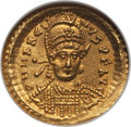 Ancients:Roman Imperial, Ancients: Marcian, Eastern Roman Emperor (AD 450-457). AV solidus(no weight given). NGC Choice Uncirculated....