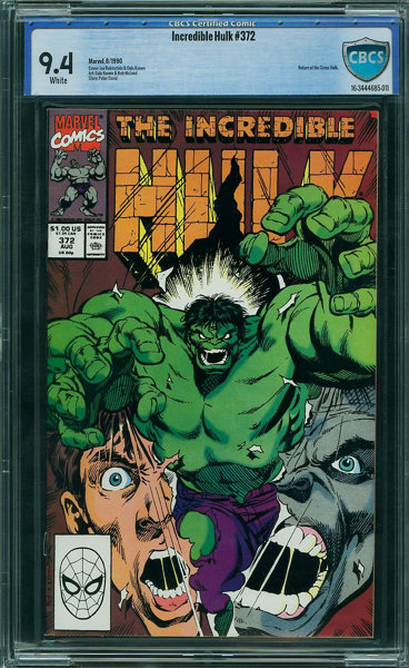 The Incredible Hulk #372 - CBCS CERTIFIED (Marvel, 1990) CGC NM 9 4 White  pages