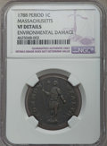 1788 1C Massachusetts Cent, Period, -- Environmental Damage -- Details NGC. VF. NGC Census: (16/168). PCGS Population: (...