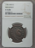 1786 NJERSY New Jersey Copper, Bridle Fine 15 NGC. NGC Census: (2/13). PCGS Population: (3/45). ...(PCGS# 501)